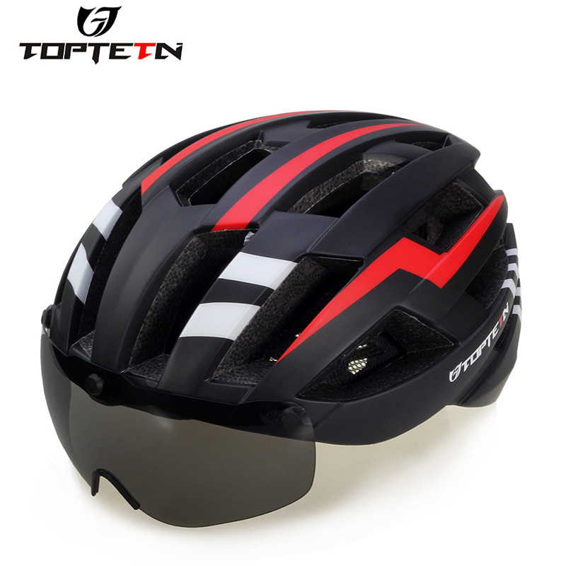 Casco Bicicleta Integrally Molded Cycling Helmet Mountain Bike Glasses Helmet Goggles Hat Male And Femaleultralight Helmet