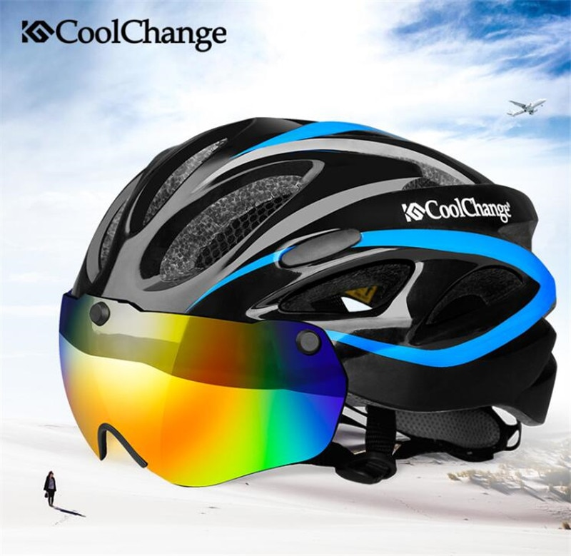 CoolChange Road Bicycle Helmet EPS Insect Net Cycling Helmet MTB Bike Integrally-molded Helmet With Goggles