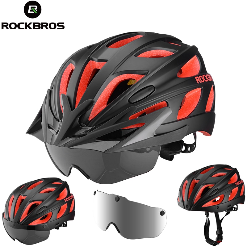 ROCKBROS Integrally-molded Bicycle Bike Helmets Ultralight Magnetic Goggles MTB Road Cycling Bike Helmets With Glasses 57-62 CM