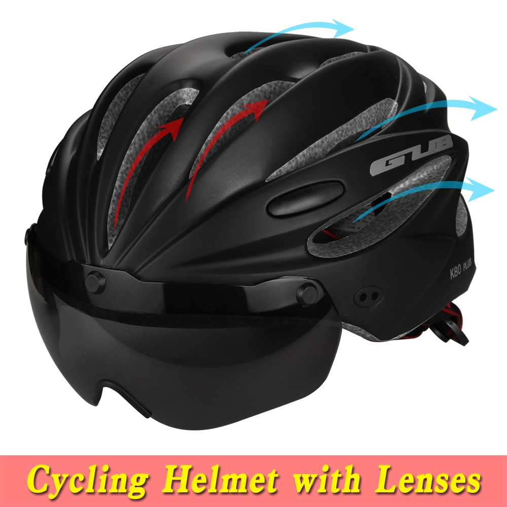 5 Colors Bicycle Helmet Integrally-molded MTB Road racing Bike Safe Cap Cycling Helmet With Magnet Adsorption Goggles K80 PLUS