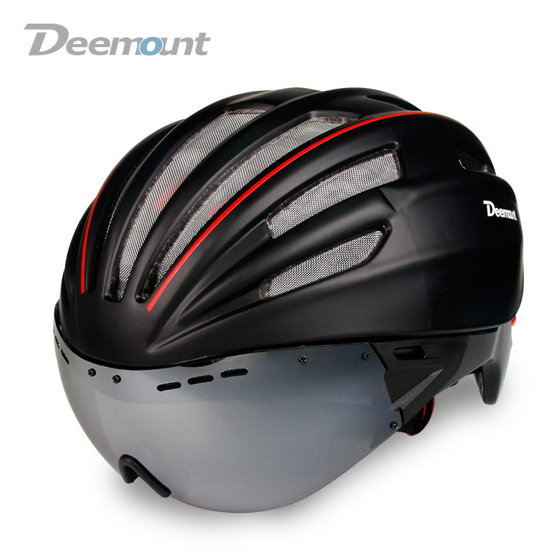 Deemount Evade Aero Cycling Helmet Bicycle MTB Mountain Road Biking Safety Cap W/ Goggle Lens In-mold 24 cavities PC EPS foam