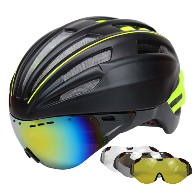 Goggles Cycling Helmet Road Mountain MTB Bicycle Helmet Casco Ciclismo Ultralight In-mold Bike Helmet With Glasses 55-61CM