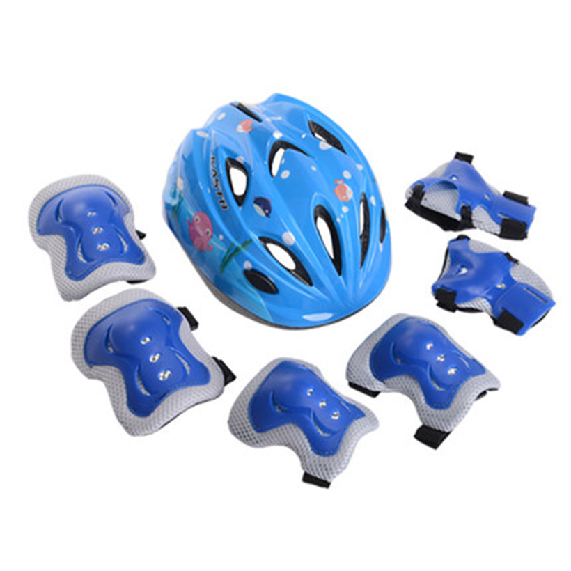 7Pcs/set Kids Outdor Sport Cycling Helmet Elbow Pads Wrist Protect Sport Skill Adjust Helmet Children Bike Bicycle Helmet