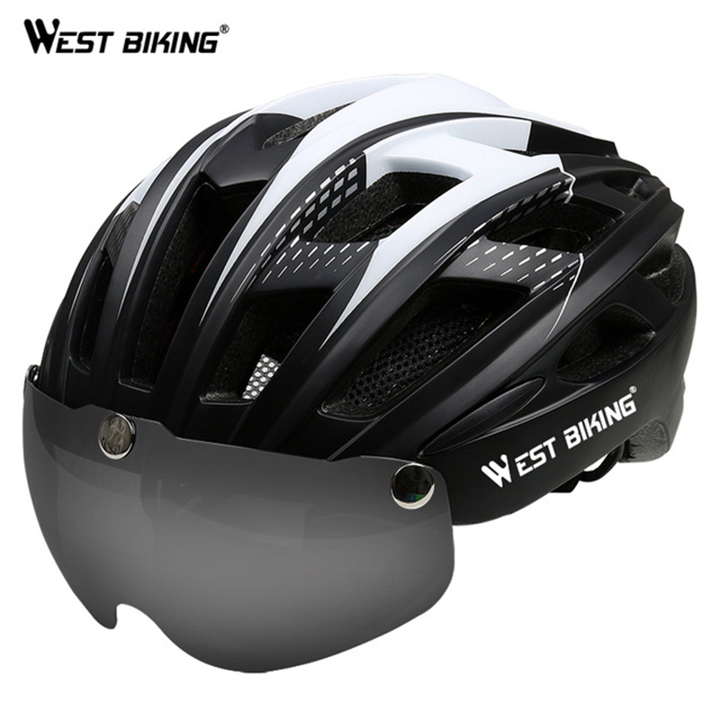 WEST BIKING Bike Helmet Integrated Shockproof Breathable Magnetic Goggles Bicycle Helmet Lens Casco Ciclismo MTB Cycling Helmet